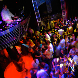 DJ playing to crowd at Metronome venue. Private party venues and NYC event planning services.