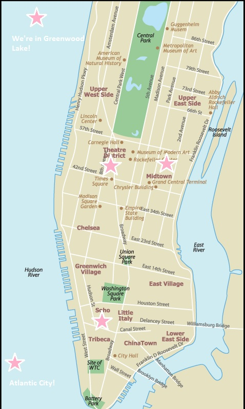 Map showing Metronome's NYC event venues for private and corporate events in Manhattan.