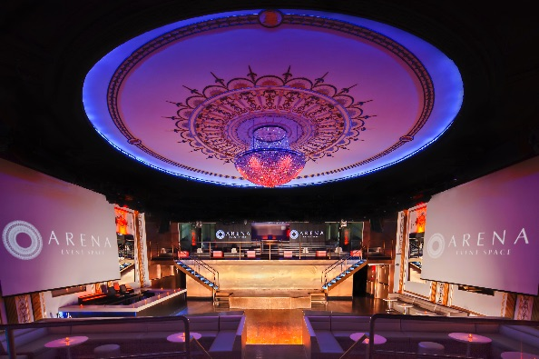 Interior of Arena, a Midtown Manhattan event space for spectacular dramatic red carpet events.